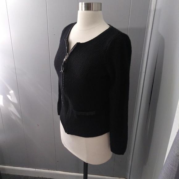 Tahari Tops - Tahari Black Knit Zip-up with Faux Leather Trim